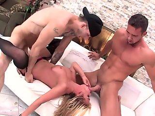 Mia Lelani takes 2 big cocks