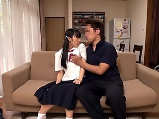 Japanese schoolgirls analplay with older dude